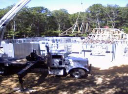 Trusses being set on main house